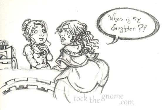 """Tock the Gnome"" sketch, Eleanore and Tock's mother"