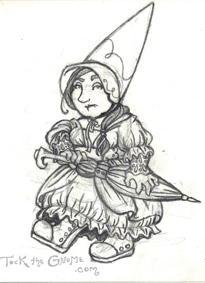 """Gnome bonnet,"" pencil sketch, ""Tock the Gnome"""