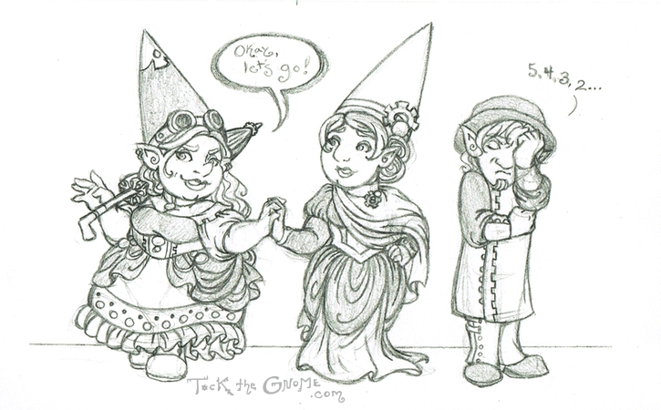 "Pencil sketch, ""Crashing the Ball, Tock the Gnome"