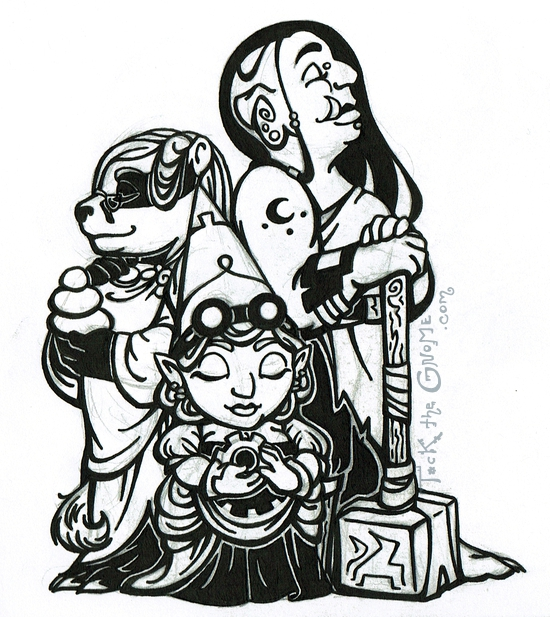 "Sketch, ""Three Women,"" pencil and ink, ""Tock the Gnome"""